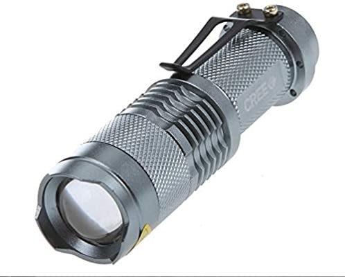 New 400LM Q5 LED Zoomable Adjustable Focus Mini Clip Flashlight Torch Lamp