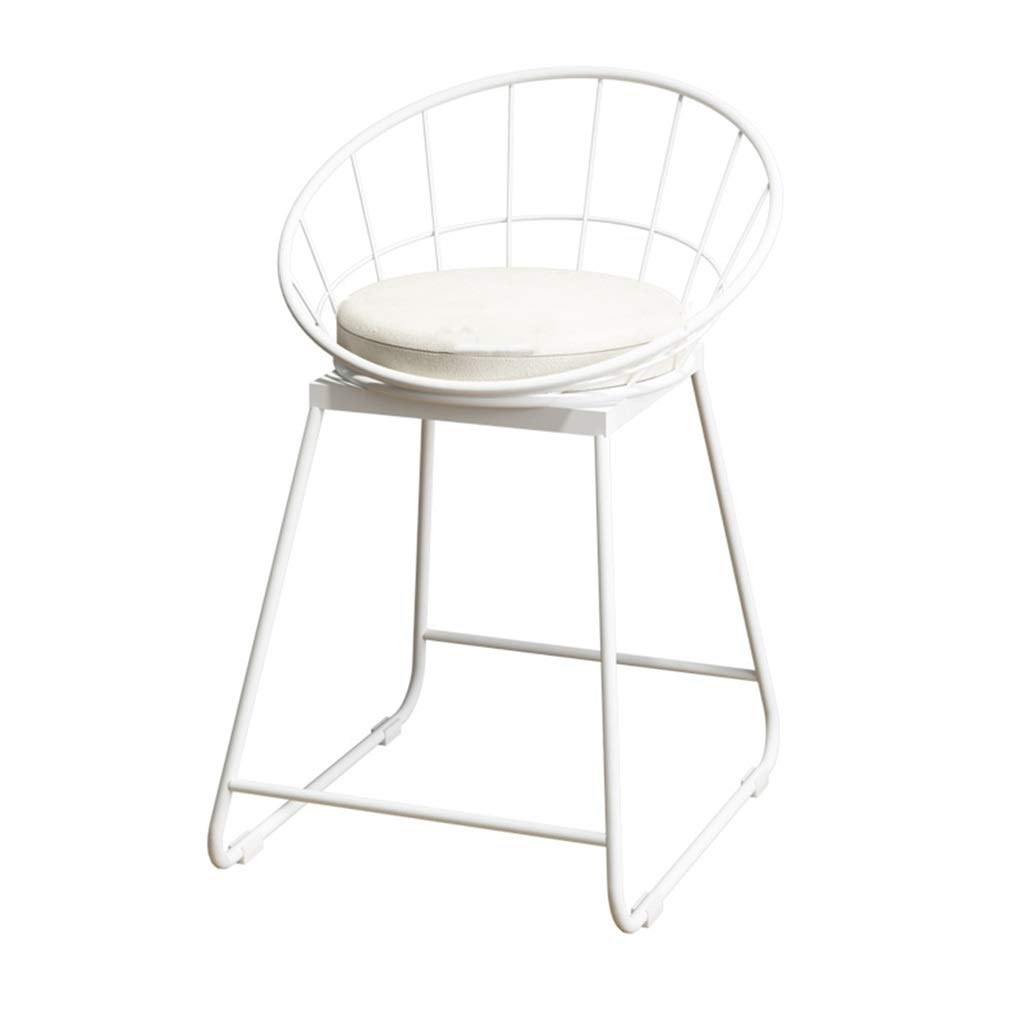42x44x45cm Barstools Chair Bar Stool Breakfast Chair High Chair and Cushion Seat Back Comfort Kitchen Breakfast Counter Greenhouse Bearing 150 Kg White (Size   42x44x65cm)