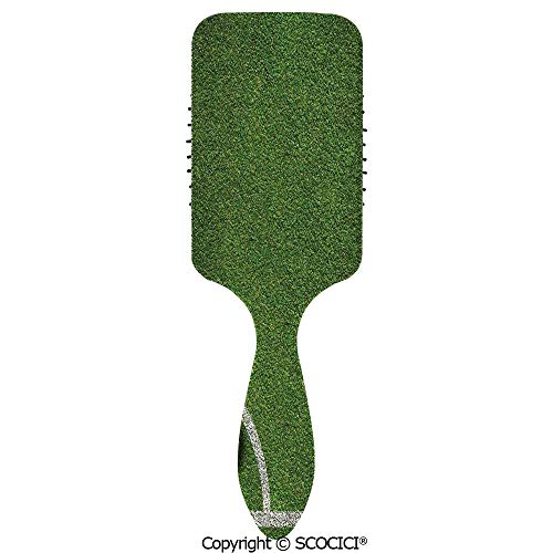 - Hair Brush with Air Cushion Combs Soccer Ball in Corner Kick Position Football Field top View Grass Lawn Terrain for Scalp Massage Anti-static, No Hair Tangle
