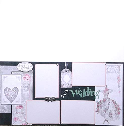 Our Wedding Black White Pink (2) Scrapbook Pages Premade