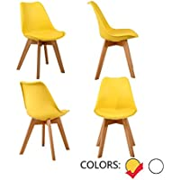 LSSBOUGHT Set of 4 Eames-Style Soft Padded Seat Dining Chairs with Solid Wooden Legs (4×Yellow)