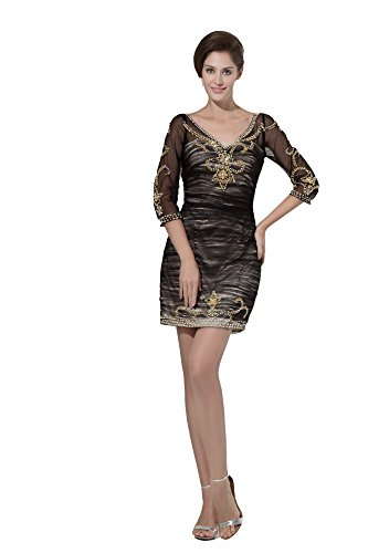 Vogue007 Womens V-neck Half Sleeve Soft Mesh Silk Pongee Formal Dress, Black, 16 by Unknown
