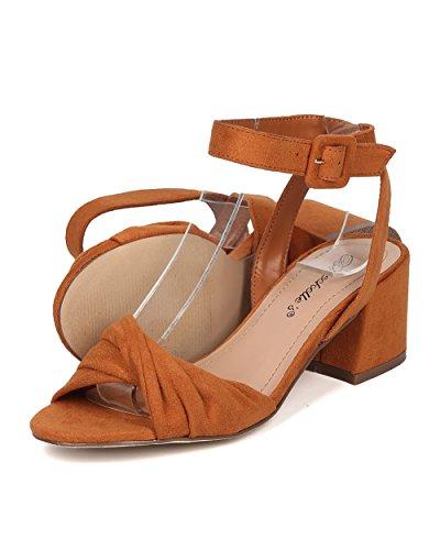 Breckelles Women Twisted Band Grosso Sandalo Con Tacco - Elegante, Formale, Versatile - Cinturino Alla Caviglia - Gg66 By Tan