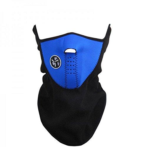 Maschera protettiva antivento in pile antifreddo per sport moto bicicletta copri collo e orecchie. MWS (BLU) MEDIA WAVE store