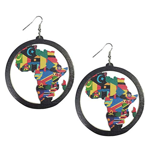 Ethnic Style Large Round Wood Eardrop African Wooden Dangler Earrings (Color D)