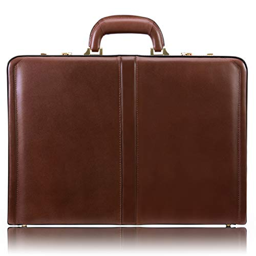 McKlein, V Series, Reagan, Top Grain Cowhide Leather, Leather 3.5″ Attaché Briefcase, Brown (80444)
