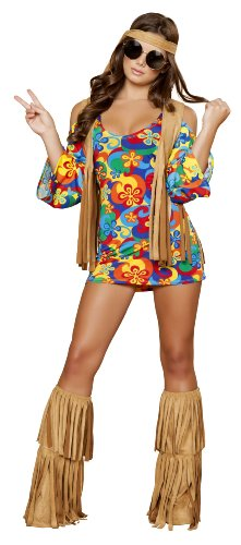 Roma Costume 3 Piece Hippie Hottie Costume, Multi/Brown