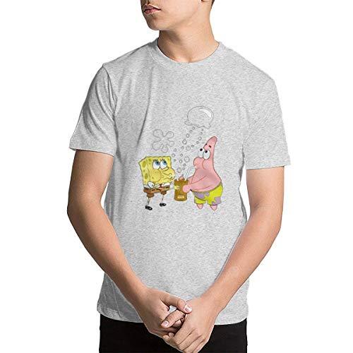 Shenhuakal Teenager Shirt Spongebob and Patrick Girl&Boy Cute Shirts Gray