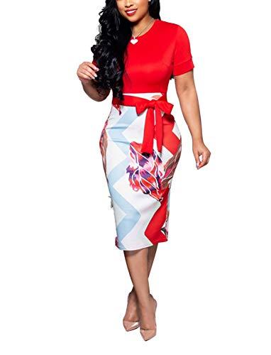 Women' Short Sleeve Bodycon Dress -Cute Bowknot Floral Pencil Dress XX-Large Red