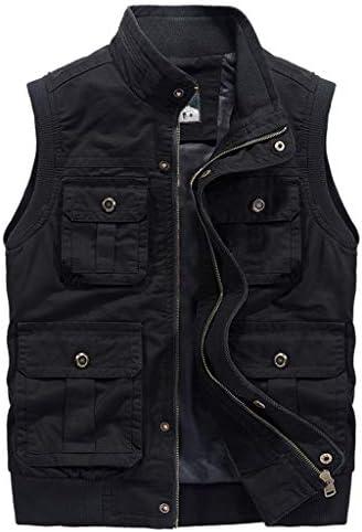 新しいベスト男性緩い写真春と秋のジャケット大型マルチポケット屋外ツーリング2019 UOMUN (Color : Black, Size : 5XL)