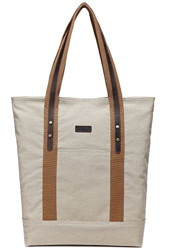 Canvas Tote Bag,Vaschy Large Vintage Shopper Travel Tote Wok Bag for Women with Leather Trim Strap Beige - Shopper Canvas Bag