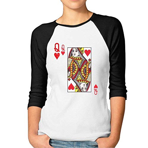 navely Womens Queen of Hearts Playing Card Costume Cotton Tee Shirt 3/4 Sleeve Tshirt Outfit O-Neck Clothes T Shirts for Women Black M