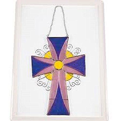 INSPIRATIONAL HANGING STAINED GLASS CROSS EASTER CHRISTIAN FAITH WALL DECORATION
