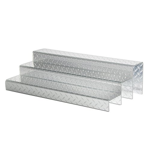 [24-inch 3-Tier Liquor Bottle Shelf - Diamond Plate Design] (Tier Liquor Bottle Shelf)