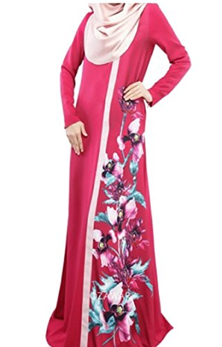 Kaftan Jaycargogo Floral Jilbab Women's Red Dress Print Abaya Apparel Muslim Islamic xxgCzSw7n