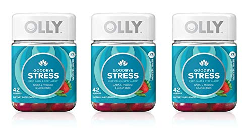 Olly TYUYB Goodbye Stress Gummy Supplement, with GABA, L-THEANINE and Lemon Balm; Berry Verbena; 42 Count, 21 Day Supply (Packaging May Vary), 3 Pack