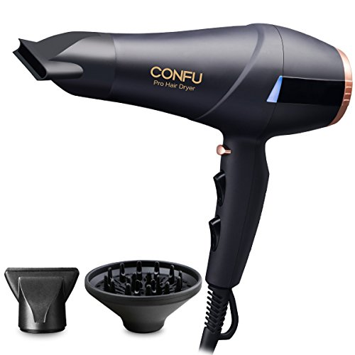Professional Ionic Hair Dryer CONFU 1875W AC Motor Blow Dryer with Diffuser 2 Concentrators Fast Drying with 3 Heat 2 Speed Settings Cool Shot Button LED Night Light ETL Certified Black by CONFU
