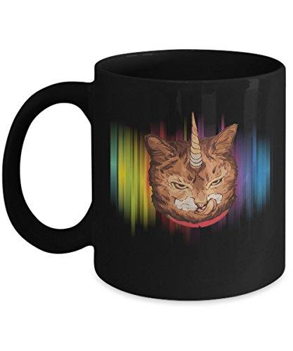 Shirt White Caticorn Rainbow Funny Cute Cat Unicorn Gift Idea Coffee Mug 11oz Black ()