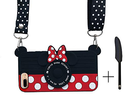 HIKERCLUB iPhone 7 Plus Silicone Case iPhone 8 Plus 3D Cartoon Minnie Camera Case Disney Mickey Mouse 3D Cartoon Soft Rubber Cover with Necklace Hand Strap for Kids Boys Girls Teens Gift
