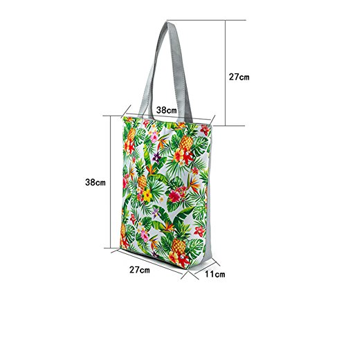 Canvas Printing Bag Green Shoulder Bag Shopping Students Pineapple Girls Hobo Women's 1 Bag for Bag Handbag Beach Tote 4qSdSRw