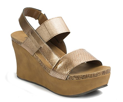 Dumas Women's Copper Wedge Sandals Pierre 8 Strappy Hester Platform RUwqPPzx