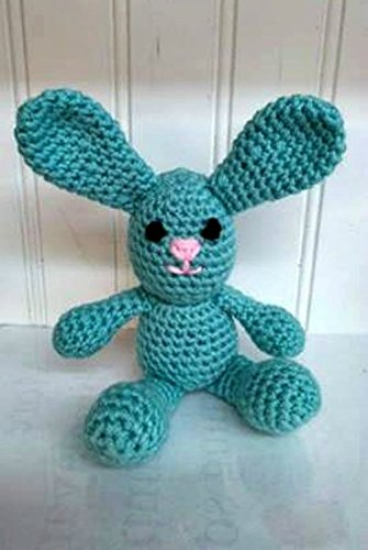 Crochet 8 Stuffed Amigurumi Turquoise Blue Bunny Rabbit Animal Plush Child Toy Collection Handmade, Easter, Holiday Gift