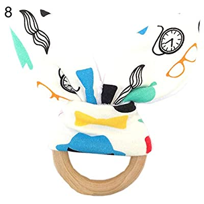 Kolefei Baby Bunny Ear Teether Safe Cotton Dots Wave Wood Teething Ring Toy Shower Gift 8# : Baby