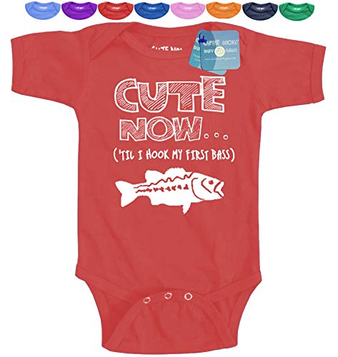 - Cute Now... (Wait 'Til I Hook My First Bass Baby/Infant Bodysuit - Pick Color and Size (18M, Red)