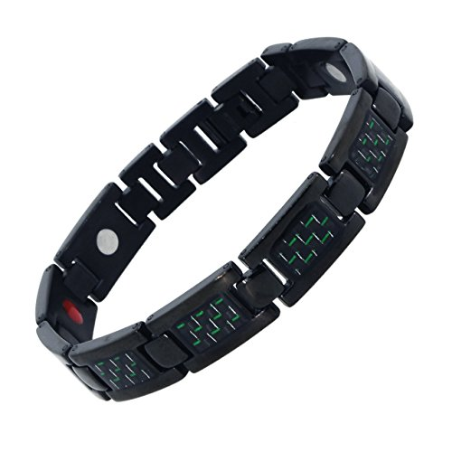 Black Carbon Fiber Link Chain Magnetic Titanium Bracelet (Black & Green)