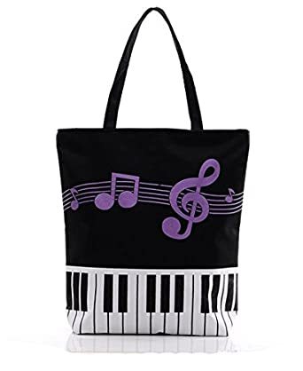Amazon.com | Black Canvas Bag Piano Keyboad Purple Music Note Tote ...