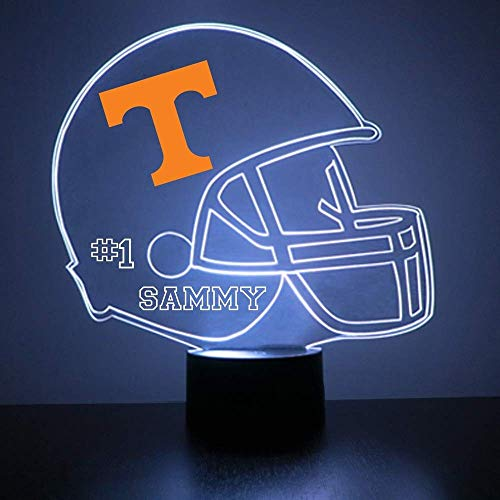 (Mirror Magic Store Tennessee Volunteers Football Helmet LED Night Light with Free Personalization - Night Lamp - Table Lamp - Featuring Licensed Decal)