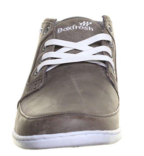 Boxfresh - Zapatillas de skateboarding de cuero para hombre gris - gris