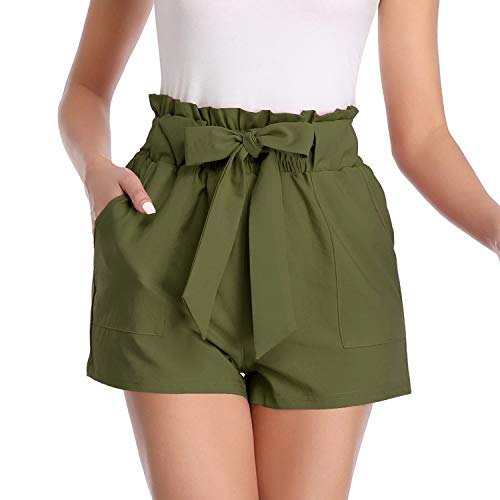 (Freeprance Paper Bag Shorts for Women high Waisted Casual Shorts Elastic Waist Front Pockets DK_XAG_2XL)
