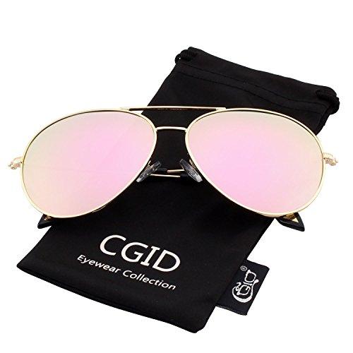 Sunglasses Flash Mirror (CGID CM809 Original Classic Metal Standard Pilot Sunglasses Flash Mirror Lens UV400,Gold Pink)