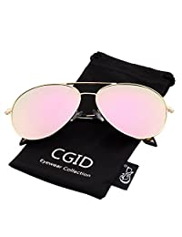 21fe1d79128 CGID Sunglasses Polarized for Women Mirrored Pilot Sun Glasses Polaroid  Shades Mirror UV400 Protection Dark Glasses 100% UV 400 Goggles for…