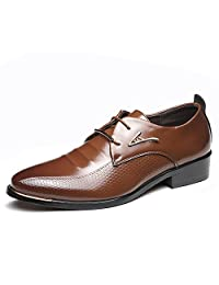 ZhaoDao158 Men Genuine Leather Business Dress Shoes Retro Pointed Oxfords