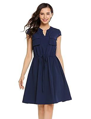 Beyove Women's Casual Sleeveless Chest Pocket Drawstring V Neck T Shirt Dress