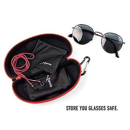 TOPSIDE Brillenetui Hardcase sto/ßabsorbierend mit Rei/ßverschluss Karabinerhaken Inkl Brillenband Aufbewahrungsbeutel /& Mikrofaser-Reinigungstuch schwarz | blau | rot