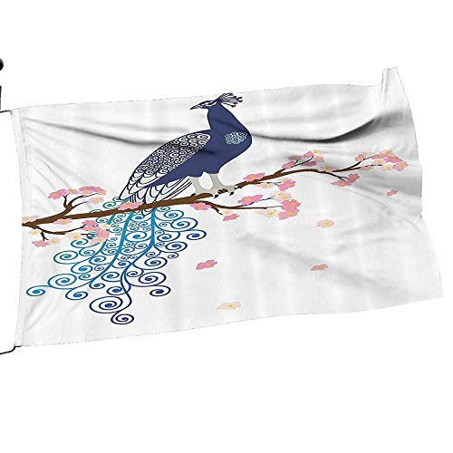- Moeeze-Home Garden Flag Army ustrati of Abstract Peacock Blossom Tree Branch Ornate Summertime Premium Quality Durable Material26 x 39