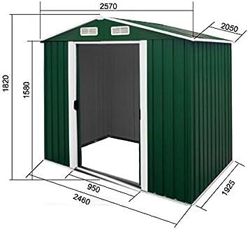 Cobertizo cobertizo 2, 57x2, 06m jardín de chapa galvanizada verde metálica de acero: Amazon.es: Jardín