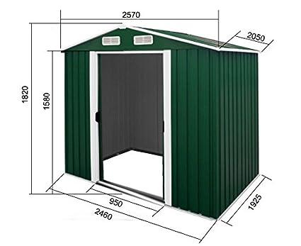 Cobertizo cobertizo 2,57x2,06m jardín de chapa galvanizada verde metálica de acero: Amazon.es: Hogar