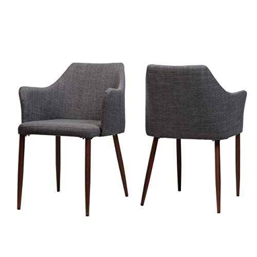 Christopher Knight Home 303212 Nande Mid Century Light Grey Fabric Dining Chairs with Dark Walnut Wood Finished Legs (Set of 2), Dark Walnut Finished Wood