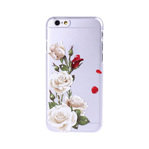 Wkae & reg; Fashion New 3D Relief Farbmuster Blume Series Hard Case f¨¹r das Apple iPhone 6 Plus 5,5 Zoll (Blume mit Regentropfen)