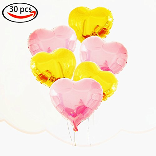 Pink Foil Heart - AZOWA 30 Pcs Heart Balloons 18 inch Foil Mylar Helium Balloon Pink and Gold Heart Shaped Balloons for Valentine's Bridal Shower Engagement Wedding Birthday Party Décor (15 Pink and 15 Gold, 18'')