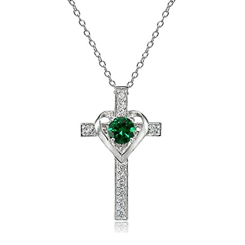 Emerald Religious Cross - Sterling Silver Simulated Emerald and White Topaz Heart in Cross Necklace for Women Girls