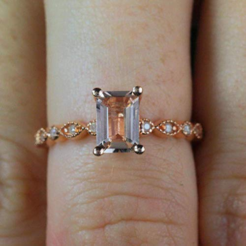 1.25 Carat Peach Pink Morganite (emerald cut Morganite) and Diamond Engagement Ring in 10k Rose - Ring Cut Diamond Rose Emerald
