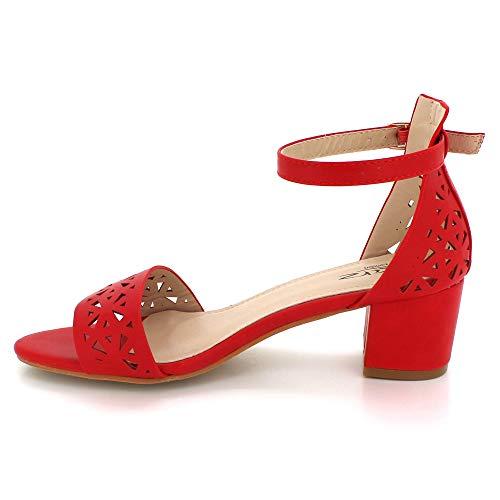 Abierta De Paseo Bloque Mujer Zapatos Noche Sandalias Tamaño Rojo Medio Punta Talón Partido Boda Señoras B4wRE