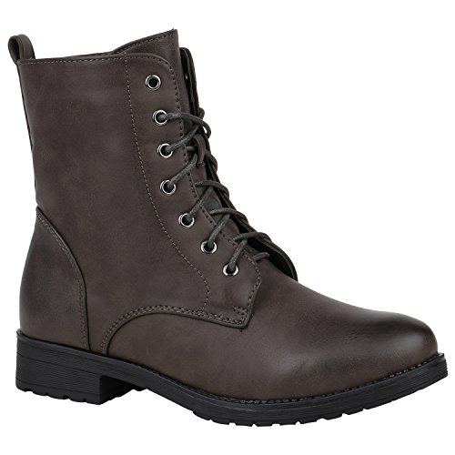 Stiefelparadies Damen Stiefeletten Schnürstiefeletten Worker Boots Zipper Schuhe Flandell Dunkelbraun Brito
