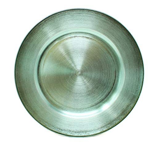 Metallic Foil Charger Plates - Set of 6 - Made of Thick Plastic - Mint Green