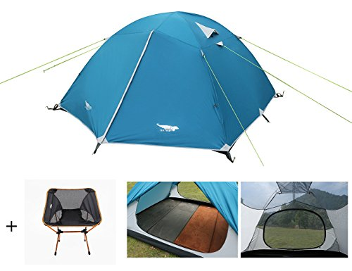 Luxe Tempo Lightweight 4 Person Tent Freestanding for Backpacking with FREE CHAIR Family Camping 7.7 lbs with Ridge Pole Gear Loft Rip-Stop Fabric Aluminum Poles